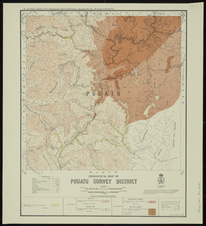 Geological map of Pouatu survey district [cartographic material] / drawn by G.E. Harris.