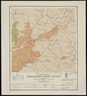 Geological map of Waingaromia survey district [cartographic material] / compiled and drawn by R.J. Crawford ; additions by G.E. Harris.