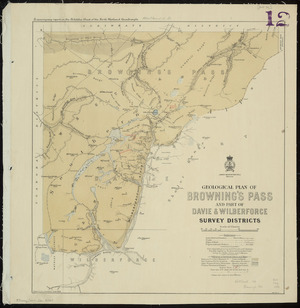Geological plan of Browning's Pass and part of Davie & Wilberforce survey districts [cartographic material] / drawn by R.J. Crawford.