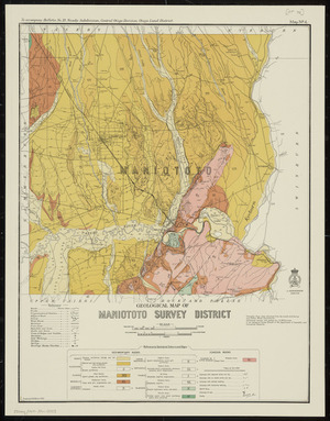 Geological map of Maniototo Survey District [cartographic material] / drawn by G.E. Harris.