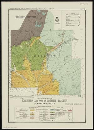 Geological map of Kyeburn and part of Mount Buster Survey Districts [cartographic material] / drawn by G.E. Harris.