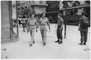 New Zealand soldiers, and two men from the National Liberation Army of Yugoslavia, in Trieste, Italy, during World War 2