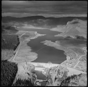 Aerial view of Whakamaru Hydro dam and lake, New Zealand