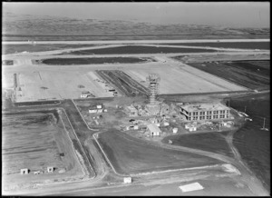 Aerial view of Auckland Airport under construction