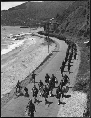 New Zealand Home Guard, Somes Battalion, marching from Petone to Eastbourne, Lower Hutt, during World War 2
