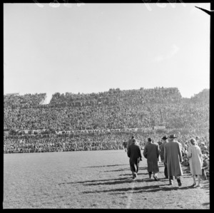 View of crowd on Western Bank grandstand at Athletic Park, Berhampore, Wellington, during second rugby test match, New Zealand All-Blacks vs British and Irish Lions