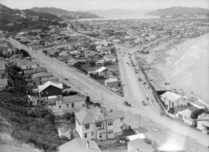 View of Lyall Bay, Wellington, looking over towards Evans Bay