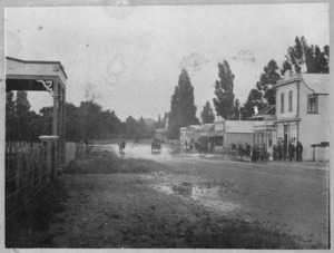 Street scene, Waipukurau, Hawke's Bay, with flood waters