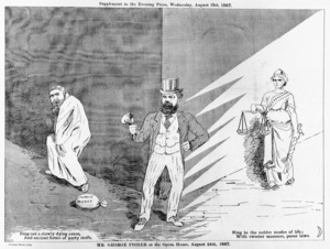 Evening Press :Mr George Fisher at the Opera House, August 24th 1887. Evening Press Litho. [Wellington, Wakefield and Roydhouse] 1887