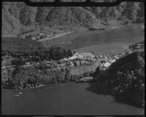 View of the freezing works and Shakespear Bay, Picton, New Zealand