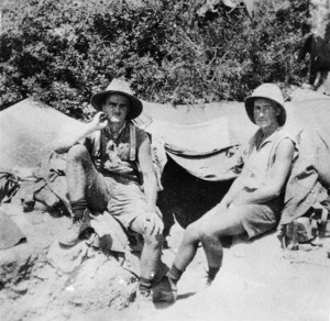 Two New Zealand soldiers sitting outside a tent, Gallipoli, Turkey