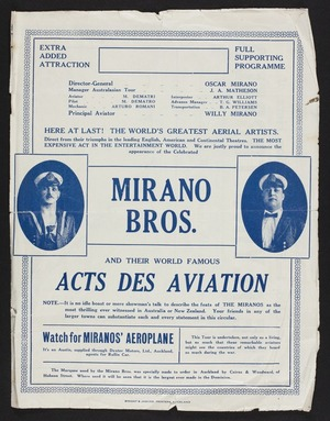 Here at last! The world's greatest aerial artists. Mirano Bros and their world famous acts des aviation. Act No 1 The Flying Torpedo; Act no 2 Looping the loop. Act no. 3 - a series of unparalleled feats on the high perch. Wright & Jaques, printers, Auckland. [1924?]