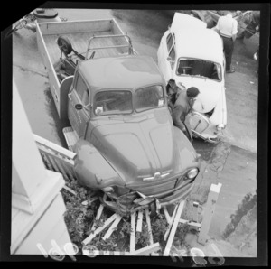 Truck and car accident, The Terrace, Wellington