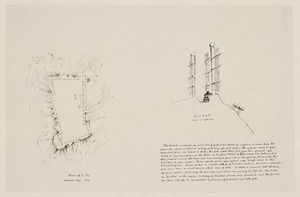 Heaphy, Charles 1820-1881 :[Notes and sketches of Maori fortifications, 1839-1863] Plan of a pa, Massacre Bay. 1839. Section of walls near a gateway. [ca 1864?]