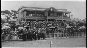 Crowd watching a cricket match at the Basin Reserve, Wellington