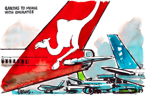Evans, Malcolm Paul, 1945- :Qantas to merge with Emirates. 11 September 2012