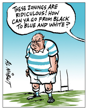Nisbet, Alastair, 1958- :'These zonings are ridiculous! how can ya go from black to blue and white?'. 8 September 2012