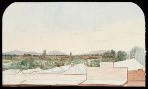 Artist unknown :Across the main street of Te Aroha looking westwards across the Hauraki Plain towards Morrinsville [ca 1900-1904]