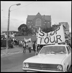 Protest march against an All Black rugby tour of South Africa, Kelburn, Wellington