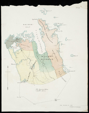 [Auckland province] [cartographic material] : [tribal boundaries in Auckland, Waikato and Coromandel].
