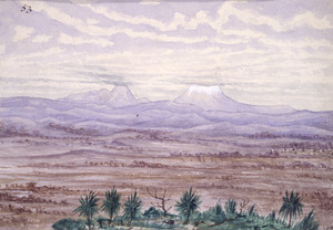 Backhouse, John Philemon, 1845-1908 :[Mounts Tongariro and Ngauruhoe. ca. 1880]