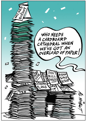 Nisbet, Alastair, 1958- :'Who needs a cardboard cathedral when we've got an overload of paper!' 5 October 2012