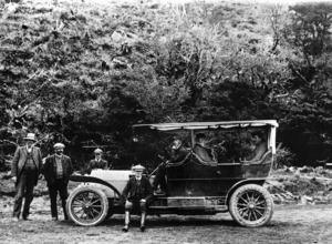 First motor car at the Hermitage hotel, Mount Cook
