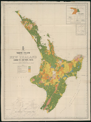 North Island (Te Ika-a-Maui), New Zealand [cartographic material] : showing the land-tenure, 1902-03 / G.P. Wilson, delt.