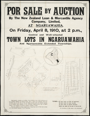 For sale by auction, by New Zealand Loan & Mercantile Agency Company Limited ... town lots in Ngaruawahia and Ngaruawahia extended townships [cartographic material] / Jas. Slator, delt.