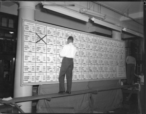 1957 General Election results board, Wellington