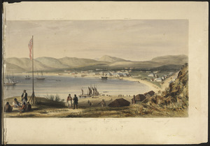 Smith, William Mein 1799-1869 :The harbour of Port Nicholson and the town of Wellington (sketched in the middle of the year 1842). [right-hand portion].
