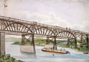 Backhouse, John Philemon, 1845-1908 :[River steamer and bridge on the Waikato. 1880]