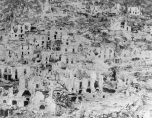 The town of Cassino, Italy, after the World War 2 bombing