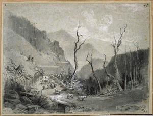[Chevalier, Nicholas] 1828-1902 :The Hut Valley. New Zealand. [November 1868]