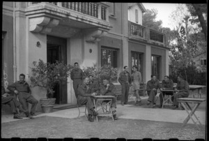Soldiers at the New Zealand Division hostel, Riccione, Italy, during World War 2