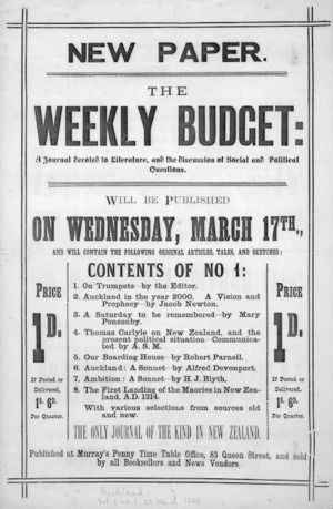 New paper. The Weekly Budget; a journal devoted to literature, and the discussion of social and political questions, will be published on Wednesday, March 17th [1886].
