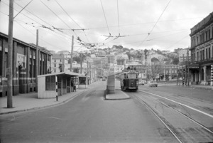 Lambton Quay, Wellington, looking south from railway tram terminus