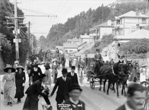 Funeral procession for Father Charles J Venning, Glenmore Street, Wellington