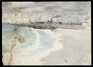 Smith, Maurice Crompton, 1864-1953 :[Boats at a wharf, possibly Hutt River Mouth. 1900-1949].