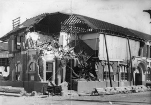 Badly damaged Post Office building in Hastings, after the earthquake of 1931