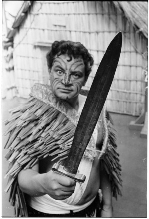 Actor, Don Selwyn, brandishes Te Rauparaha's sword