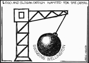 Heath, Eric Walmsley, 1923- :Logo and slogan design wanted for the capital. Swinging Wellington. 1985