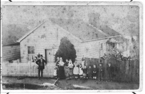 Bell family house at 7 Edwin Street, Auckland, with members of the Bell and Porter families
