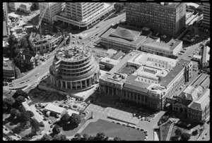 Aerial view of Parliament Buildings, Wellington