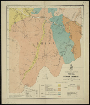 Geological map of Ohika Survey District [cartographic material] / compiled and drawn by G.E. Harris.