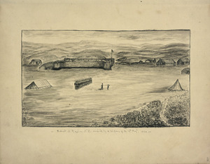 Carbery, Andrew Thomas H 1836-1870 :Redoubt at Raglan, N. Z. occupied by a company of the 12th Regiment, 1864