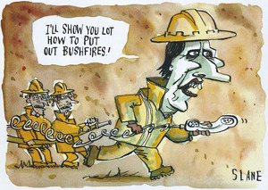 Slane, Christopher, 1957-: I'll show you lot how to put out bushfires! New Zealand Listener, 19 January 2002.