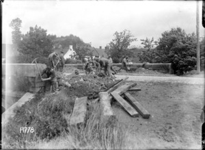World War I members of the New Zealand Tunnellers mining a road near Arras, France