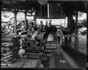 New Zealand soldiers working in a timber mill