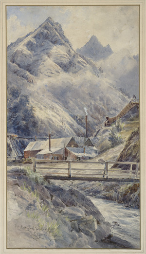 Wilson, Laurence William, 1851-1912 :The Battery, Achilles Mine, Skippers, Shotover River. 1895.